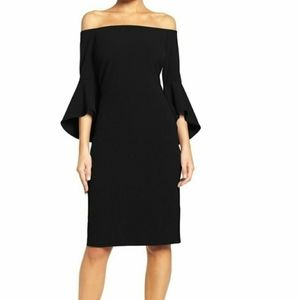 Chelsea28 Black Off Shoulder Cocktail Dress